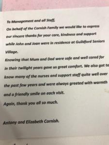 notes of thanks for retirement communities in Guildford