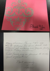 handwritten thank you note for the care at Summerland Seniors Village