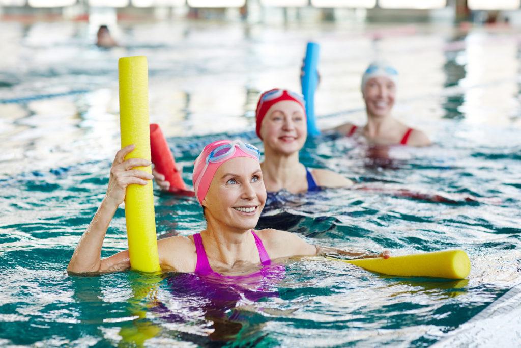 Senior water Aerobics in swimming pool