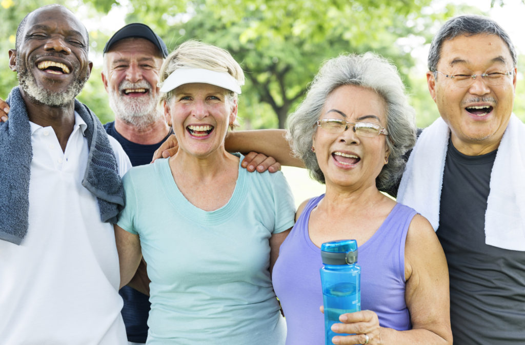 Senior Group Friends Exercise Relax at retirement concepts